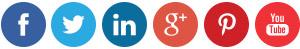 iconos redondo de facebook, twitter, linkedin, google plus, pinterest, youtube