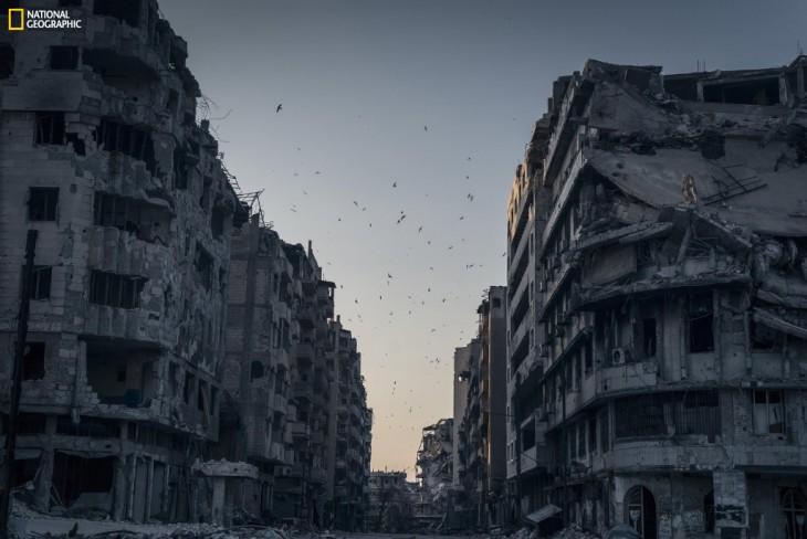 edificios destruidos en un atardecer tenebroso